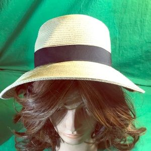 Sun Hat with Black Band & Bow - Sz is Adjustable